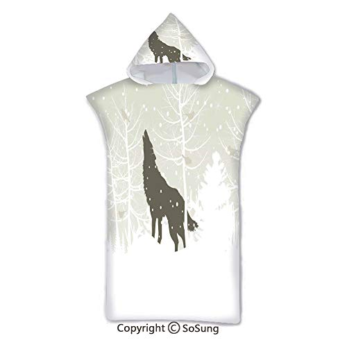 (Winter Kids Hooded Beach Bath Towel,Wolf Silhouette Howls in Woods Leafless Trees Snowflakes Wilderness Nature,7-15 Years Old Microfiber Bath Robe,Eggshell White Black,for Beach Pool Shower)
