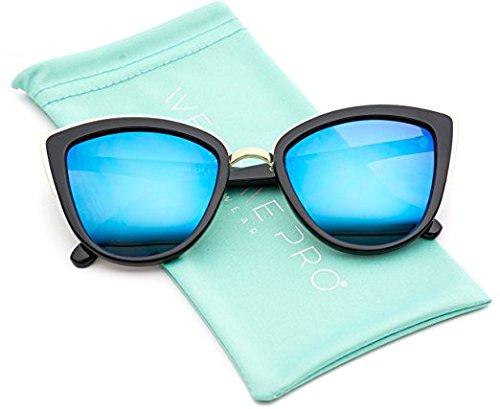 Womens Cat Eye Mirrored Reflective Lenses Oversized Cateyes Sunglasses