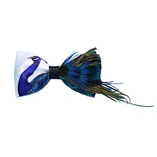 Handmade Bow tie Men's Unique Natural Blue Peacock Feathers Bow tie Wedding Cravat - Male Peacock
