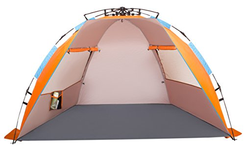 (Oileus X-Large 4 Person Beach Tent Sun Shelter - Portable Sun Shade Instant Tent for Beach with Carrying Bag, Stakes, 6 Sand Pockets, Anti UV for Fishing Hiking Camping, Waterproof Windproof, Orange)