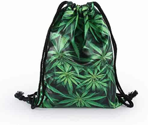 26e89eea7 O-C Marijuana Weed Print Drawstring Backpack Sport Gym Yoga Sack Bag  Lightweight String Bag for Men