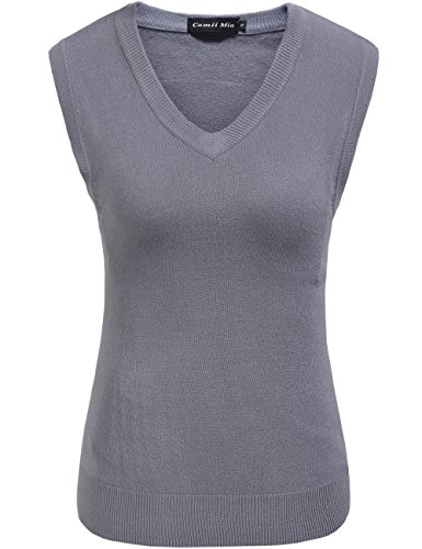 lid Knit Classic V Neck Sleeveless Pullover Sweater Vest (Large, Grey) (Cashmere V-neck Sweater Vest)