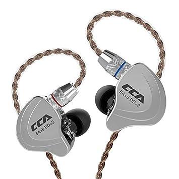 CCA C10 Auriculares híbridos 4BA 1DD 4 equilibrados y 1 dinámico 4BA 1DD Auriculares Monitor con Cable de Repuesto de 2 Pines(Negro no mic)