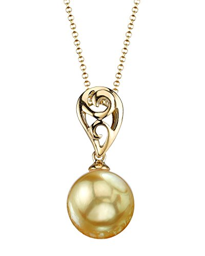 11mm South Golden Sea Pearl (THE PEARL SOURCE 14K Gold 10-11mm Round Golden South Sea Cultured Pearl Andrea Pendant Necklace for Women)