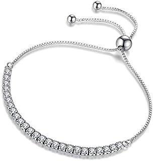 Ben-gi Allergy Free German Polishing 5A Zircon Clear Crystal S925 Silver Women Adjustable Braclet