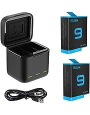 AuyKoo 2 stuks accu's 1750mAh + 3-kanaals oplader voor GoPro Hero 9 Black Hero 10 Black, snellader batterij-opslag draagtas + 2-pack batterijen met USB Type-C kabel voor GoPro Hero 9 10 Black