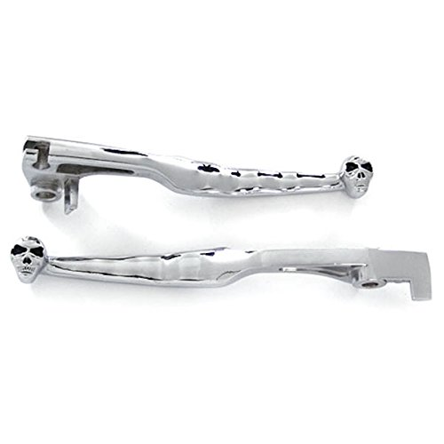 Krator® 1997-2006 Suzuki Boulevard C50 M50 / Marauder 800 / Volusia 800 Billet Aluminum Chrome Brake and Clutch Skull Hand Grips Levers Left and Right One Pair Motorcycle