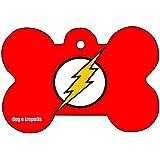 Flash Comic Strip Logo Dog Pet Cat ID Tag Bone Shape Personalized Key Ring