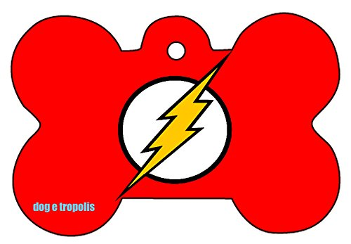 Picture of Flash Comic Strip Logo Dog Pet Cat ID Tag Bone Shape Personalized Key Ring (Logo)
