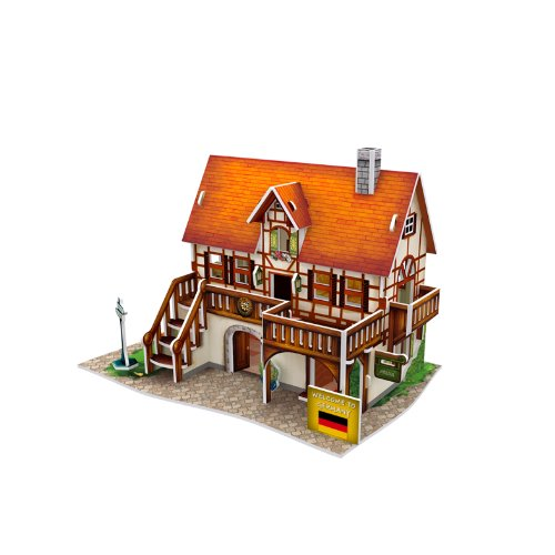 Lelifang 3D stereoscopic new listing world style hut building assembly model children 's toys W3125 Germany - Art - Pond By Hut The