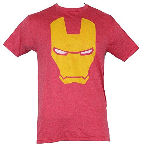 Iron Man (Marvel Comics) Mens T-Shirt - Yellow Interior Helmet Face (Large) Red