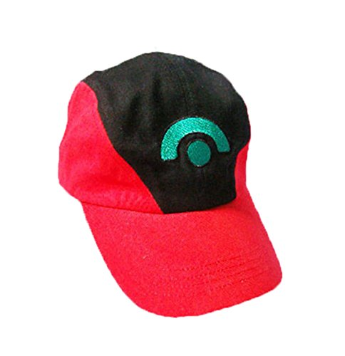 Pokemon Ash Ketchum Baseball Snapback Cap Trainer Hat for Adult Embroidered Redblack (Trainer Womens Cap)