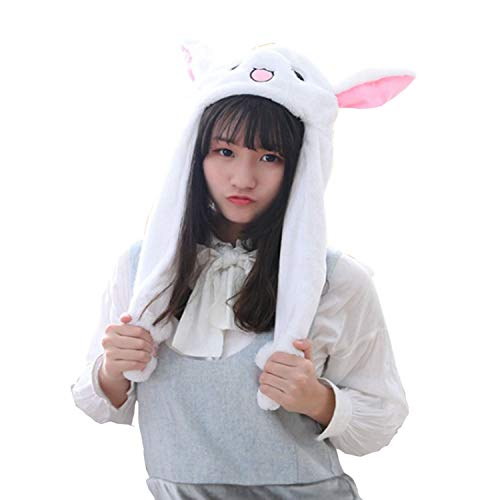 t Ears Moving Cute Super Soft Plush Animal Hat Gift for Children & Girl, One Size White ()