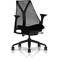 Herman Miller Sayl Task Chair: Tilt Limiter - Stationary Seat Depth - Height Adj Arms - Hard Floor Casters - Black Base & Frame