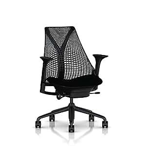 Herman Miller Sayl Task Chair: Tilt Limiter - Stationary Seat Depth - Stationary Arms - Standard Carpet Casters - Black Base & Frame