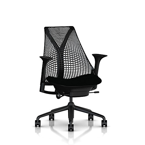Herman Miller Sayl Ergonomic Office Chair with Tilt Limiter and Carpet Casters | Stationary Seat Depth and Arms | Black Frame with Licorice Crepe Seat