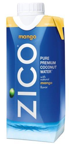 ZICO Pure Premium Coconut Water, Mango, 11.2 Ounce Tetra Paks (Pack of 12)