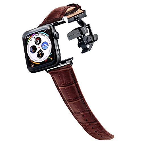 Longvadon Men's Caiman Series Watch Band - Compatible with Apple Caiman Series Watch Series 1, 2, 3 & 4 - Genuine Top Grain Leather (Mahogany Brown, Black, 42/44 - - Genuine Mahogany