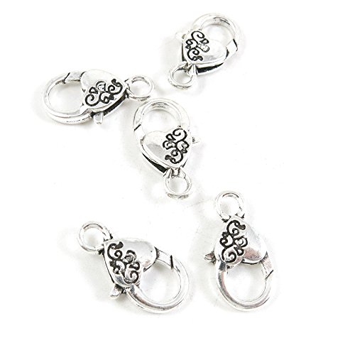 20 Pieces Antique Silver Tone Jewelry Making Supply Charms Filigrees Arts Crafts Beading Findings Crafting A6OY6Q Love Heart Lobster Key Clasp