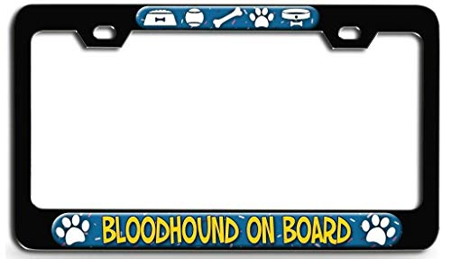 Hopes's License Plate Frame, Black Car Tag Frame with Chrome Screw Caps, 2 Holes Aluminum Metal Auto Car License Plate Cover Holder - Bloodhound On Board Dog(1)
