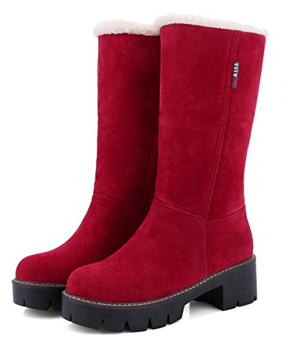 Qwvuxfpq Style Rouge Fourré Chaud Aisun In Talon Bottines Bloc Femme qTnIBUx8w