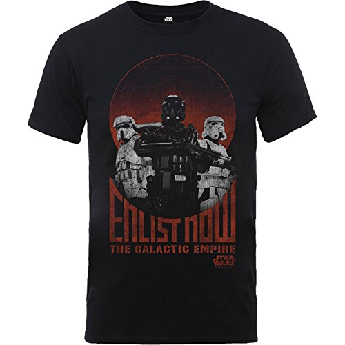 Price comparison product image Star Wars T Shirt Rogue One Enlist Now Galactic Empire Official Kids Black