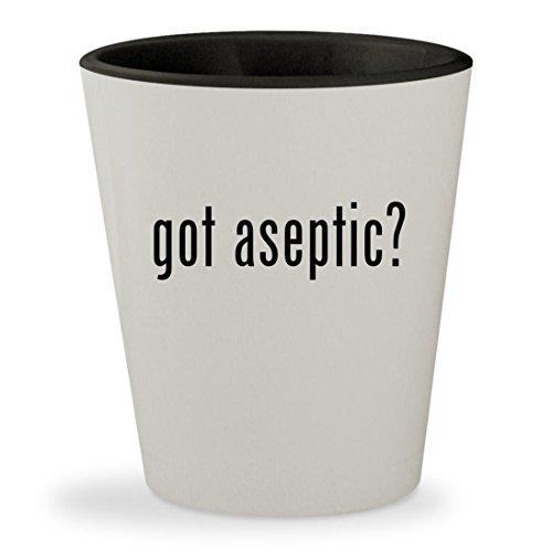 got aseptic? - White Outer & Black Inner Ceramic 1.5oz Shot (8 Ounce Aseptic Boxes)