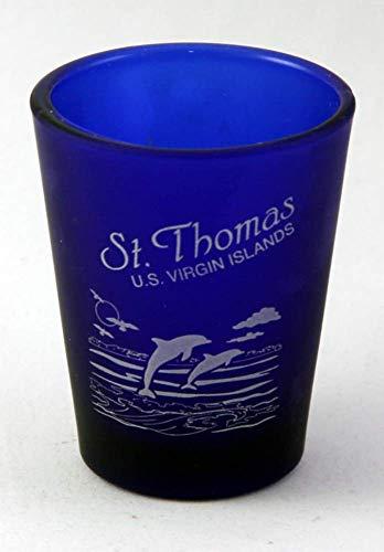 (St.Thomas US Virgin Islands Cobalt Blue Frosted Shot Glass)