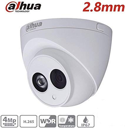 Dahua 4MP Security Camera, IPC-HDW4433C-A, Network Camera, Night Vision,  Eyeball Dome IP Camera, 4 Megapixel IR 50M WDR POE H 265 Built-in MiC