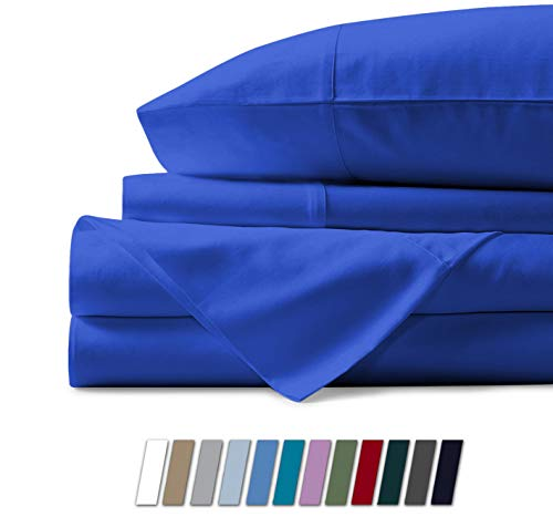 1000 Thread Count Best Bed Sheets 100% Egyptian Cotton Sheets Set - ROYAL BLUE Long-staple Cotton Queen Sheet For Bed, Fits Mattress Upto 18'' Deep Pocket, Soft & Silky Sateen Weave Sheets]()