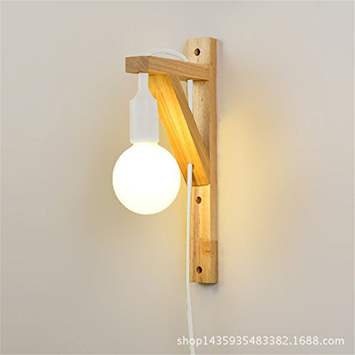 LED Wall Lights Wall Sconce Light Fixture Up Down Wall LightingSolid Wood Wall lamp Creative Personality LED Bedroom Bed Living Room hallways Wall Lamps with Plug Switch, White /18x35cm