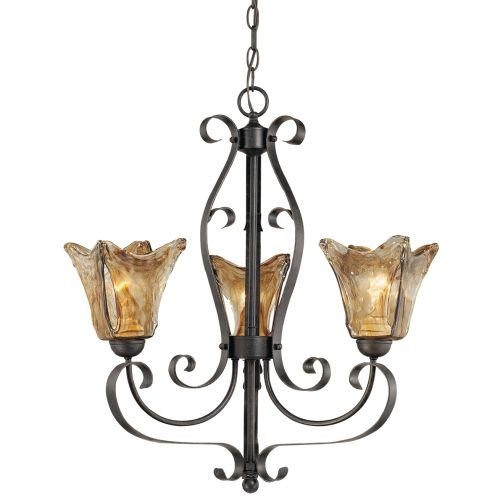 Millennium 7123-BG Three Light Up Chandelier with Gold Finish