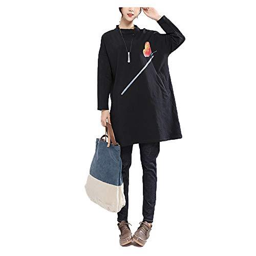 T-shirt en coton Moyen et haut col impression de jupe pull Slim automne sauvage (Color : Black, Size : Free size) Black