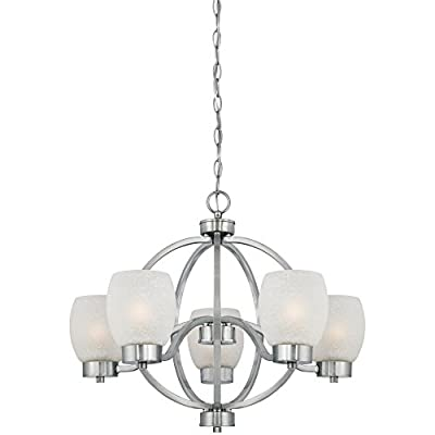 Westinghouse 6341200 Karah Five-Light Indoor Chandelier, Brushed Nickel Finish with White Linen Glass