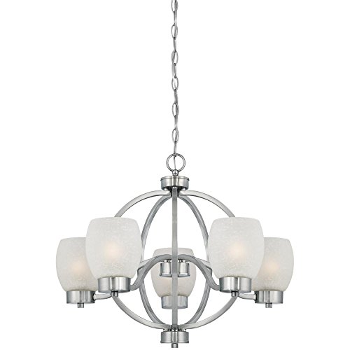 Westinghouse 6341200 Karah Five-Light Indoor Chandelier, Brushed Nickel Finish with White Linen Glass Westinghouse Nickel Chandelier