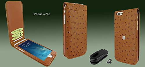 Piel Frama 689 Tan Ostrich Magnetic Leather Case for Apple iPhone 6 Plus / 6S Plus by Piel Frama (Image #3)