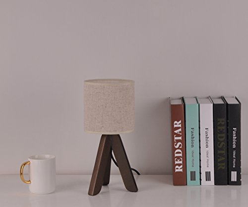 Surpars House Mini Wood Bedside Table lamp with Fabric Shade for Bedroom,Living Room,Baby Room or Office by Surpars House (Image #3)