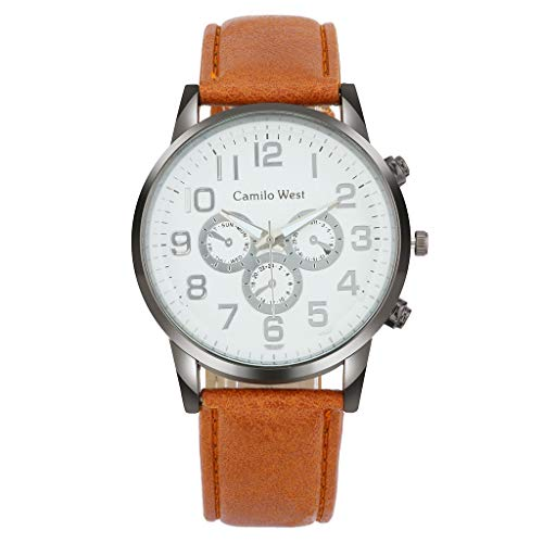 Business Watch for Men Analog and Digital,LYN Star❀♪ Boy's Fashion Business Quartz Watch with Brown Leather/Mesh Strap (4 Carat Princess Cut Diamond Ring Price)