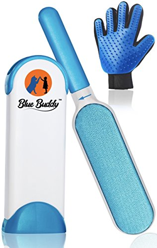 Buddies Blue Cars (Pet Hair Remover - Cat & Dog Hair Remover With Self-Cleaning Base - Double Sided Pet Hair Remover For Furniture, Carpet, Car, Clothing, Couch Lint Remover & Fur Remover - Lint Brush Tool)