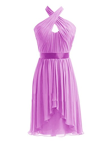 Chiffon Halter Lilac Party Fanciest Brautjungferkleider Damen Black Kurz Wedding Kleider BEAcc7yqwv