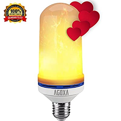 LED Flame Effect Light Bulb - Creative Lamps with Flickering Fire Emulation, E26/E27 SMD2835 105pcs Simulated Nature Gas Fire in Vintage Antique Hurricane Lantern Atmosphere for Valentine's Day