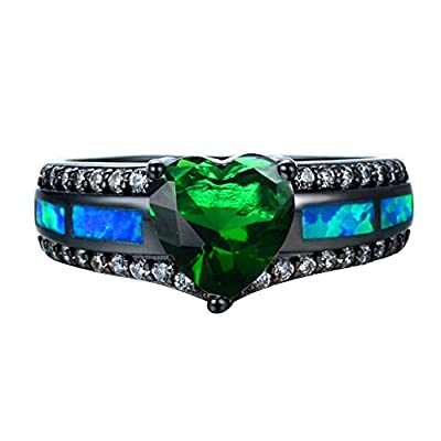Luxxy Jewelry Stylish Blue Fire Opal Black Gold Filled White Round AAA Zircon May Birthstone Green Heart Promise Ring