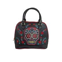 Banned Flower Sugar Skull Bowling Shoulder Bag Black Faux Leather Tattoo Rockabilly
