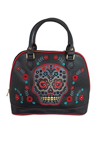 Banned Flower Sugar Skull Bowling Shoulder Bag Black Faux Leather (Medium Leather Bowling Bag)