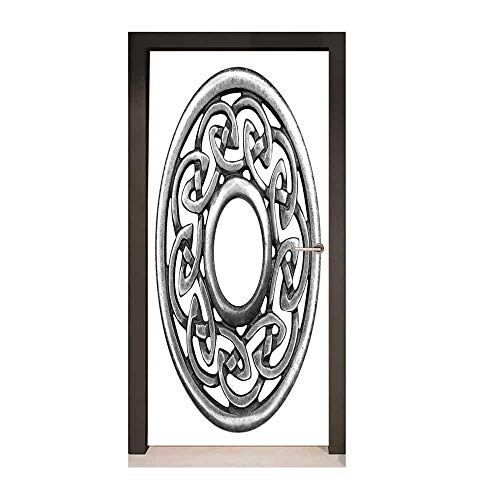 Celtic 3D Door Decal Royal Style Circular Celtic Pattern Graphic Print Metal Brooch Design Scottish Shield for Home Room Decoration Silver,W23xH70 ()