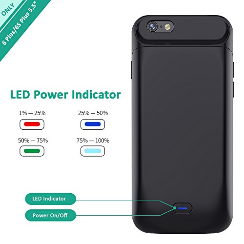 iPhone 6s Plus/6 Plus Battery Case, Stoon 7200mAh Portable Charger Case Rechargeable Extended Battery Pack Protective Backup Charging Case Cover for Apple iPhone 6s Plus/6 Plus (5.5 Inch) (Black) by Stoon (Image #3)