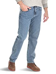 Wrangler Authentics Men's Comfort Flex Relaxed Fit Jean. Made with comfortable cotton stretch fabric, these men's denim jeans are ready for whatever you have planned. A relaxed fit and look from the Wrangler name you trust. FEATURES Comfortab...