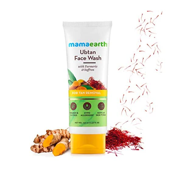 Mamaearth Ubtan Natural Face Wash for Dry Skin with Turmeric & Saffron for Tan removal and Skin brightning 100 ml - SLS