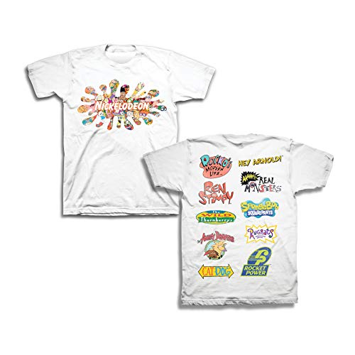 Nickelodeon Mens 90's Classic Shirt - Rugrats & Hey Arnold Vintage Front and Back T-Shirt (White, Large)