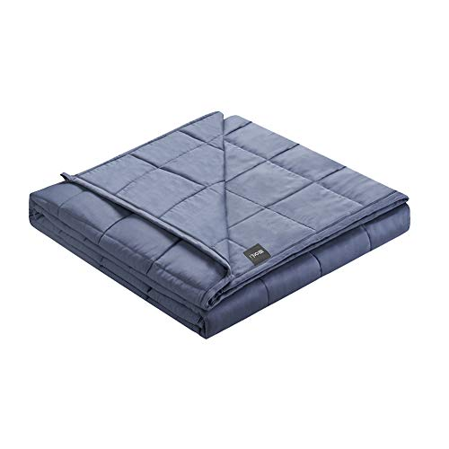 ZonLi Cooling Bamboo Weighted Blanket 15 lbs(60x80 Grey Navy, Queen Size), Cool Summer Weighted Blanket for Adult